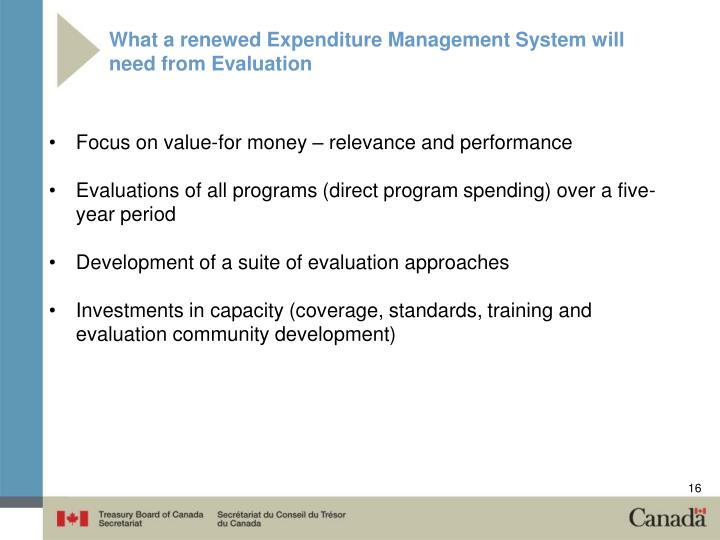 What a renewed Expenditure Management System will need from Evaluation