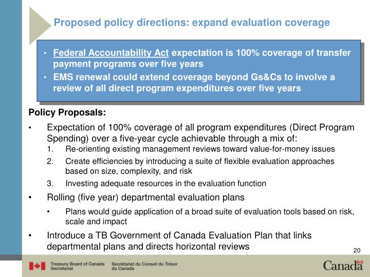 Proposed policy directions: expand evaluation coverage