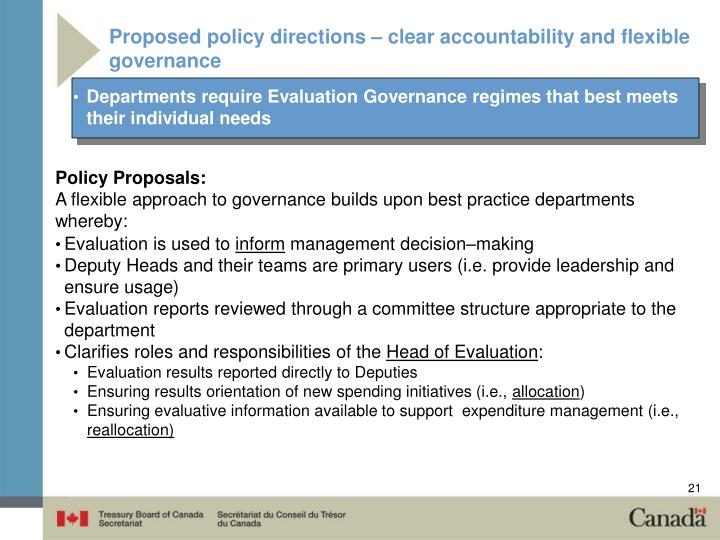 Proposed policy directions – clear accountability and flexible governance