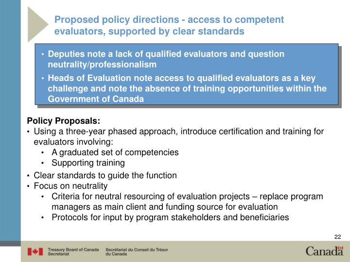 Proposed policy directions - access to competent