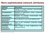 more sophisticated network attributes