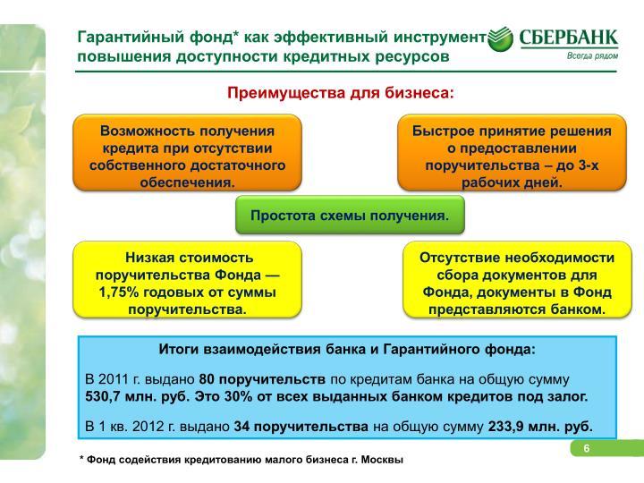 Гарантийный фонд* как эффективный инструмент  повышения доступности кредитных ресурсов