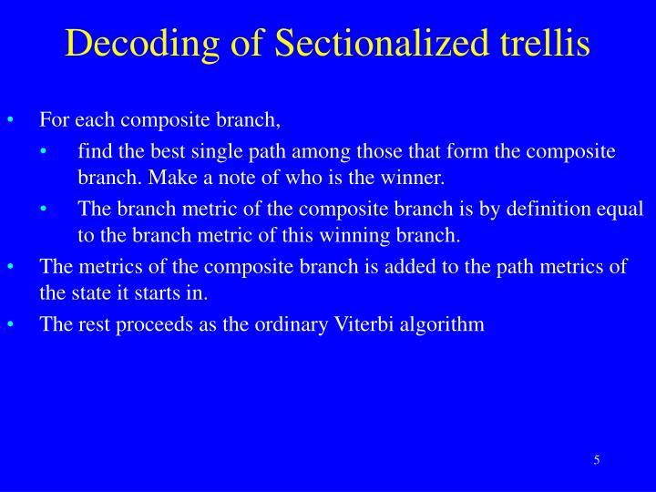 Decoding of Sectionalized trellis