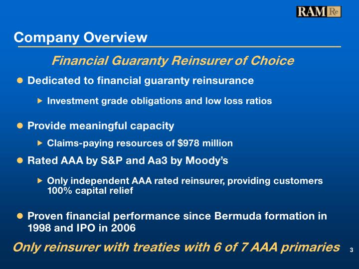 Dedicated to financial guaranty reinsurance