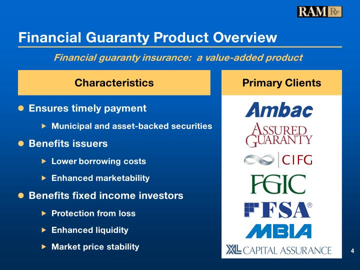 Financial Guaranty Product Overview