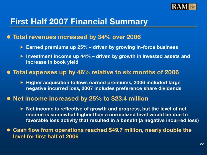 First Half 2007 Financial Summary