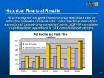 historical financial results1