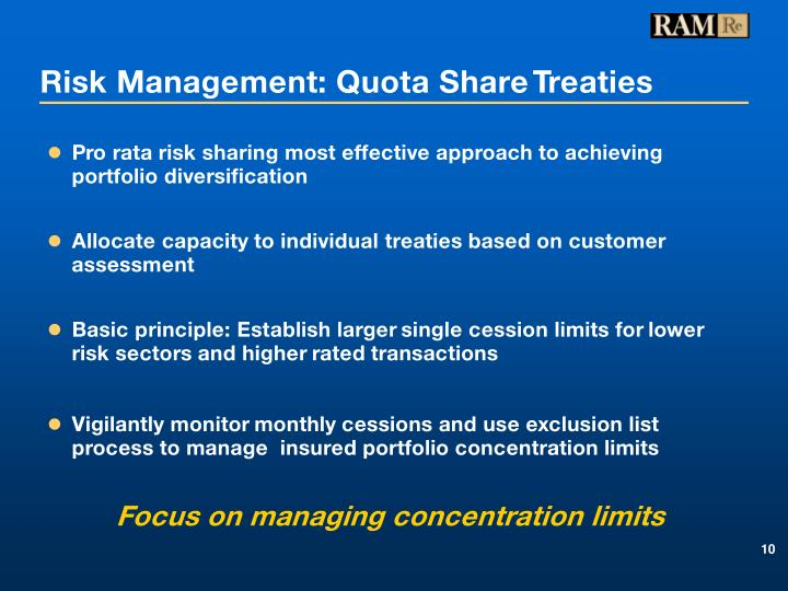 Risk Management: Quota Share Treaties