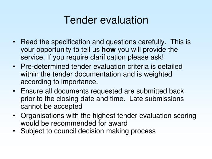 Tender evaluation