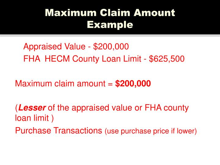 Maximum Claim Amount