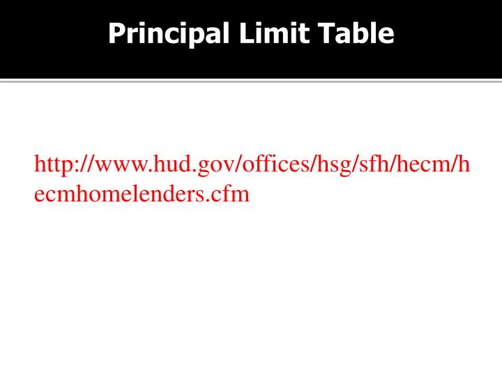 Principal Limit Table
