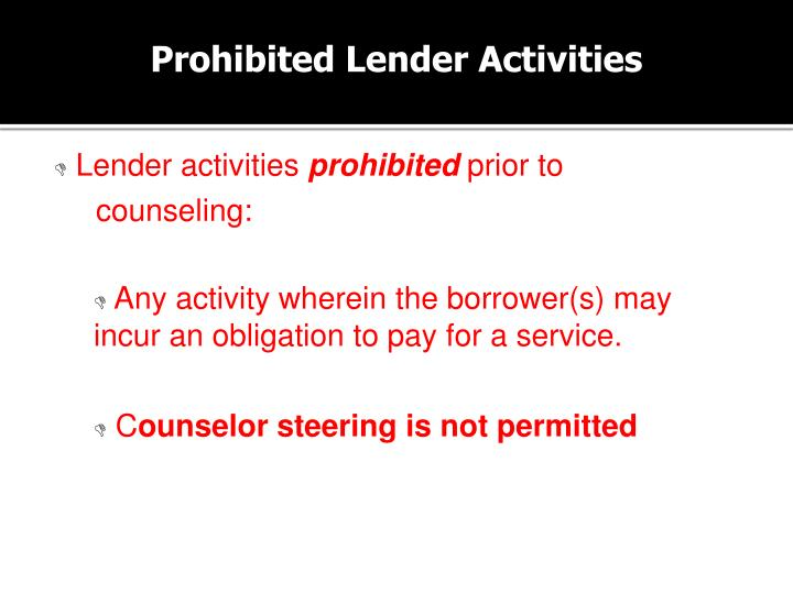 Prohibited Lender Activities