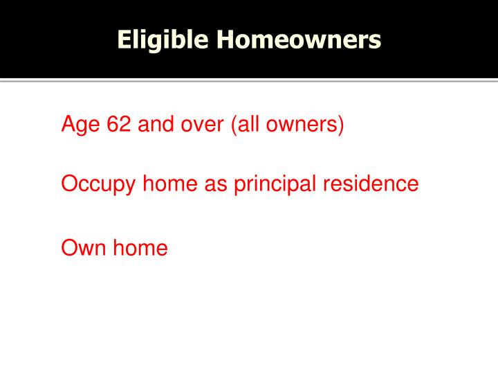 Eligible Homeowners
