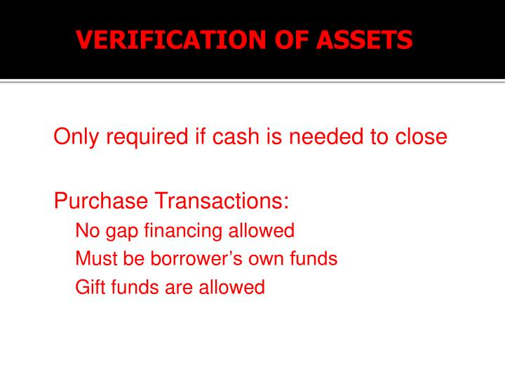 VERIFICATION OF ASSETS