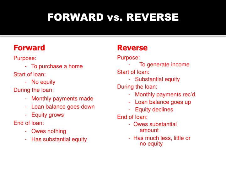 FORWARD vs. REVERSE