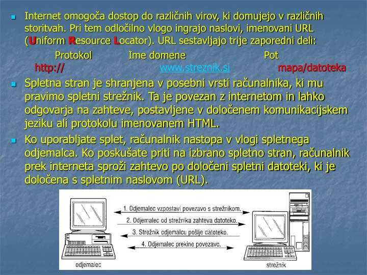 Internet omogoča dostop do različnih virov, ki domujejo v različnih storitvah. Pri tem odločilno vlogo ingrajo naslovi, imenovani URL (