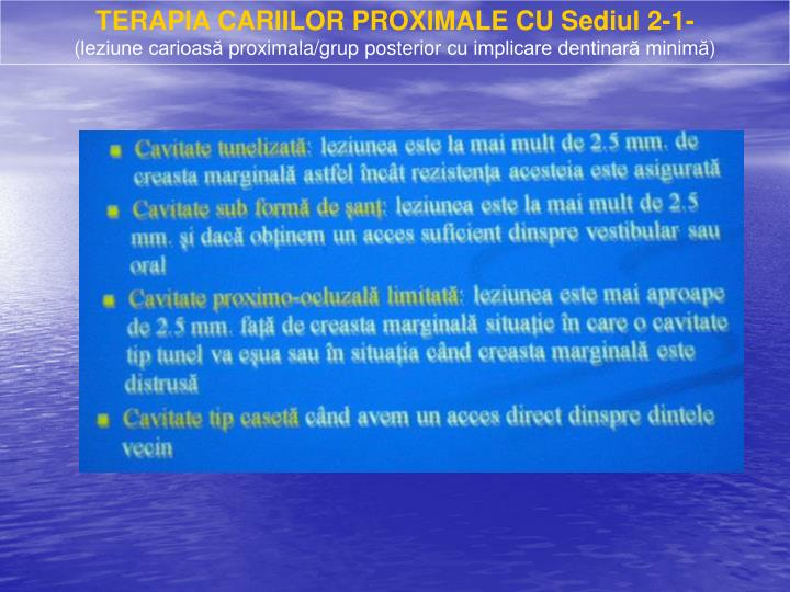 TERAPIA CARIILOR PROXIMALE CU Sediul 2-1-
