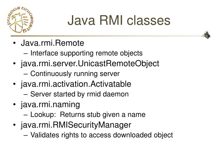 Java RMI classes
