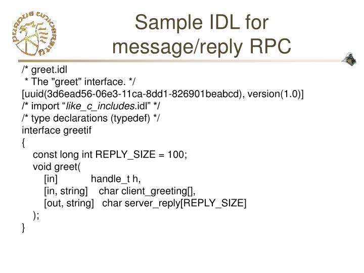 Sample IDL for