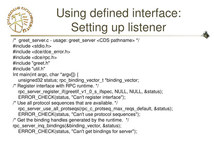 Using defined interface: