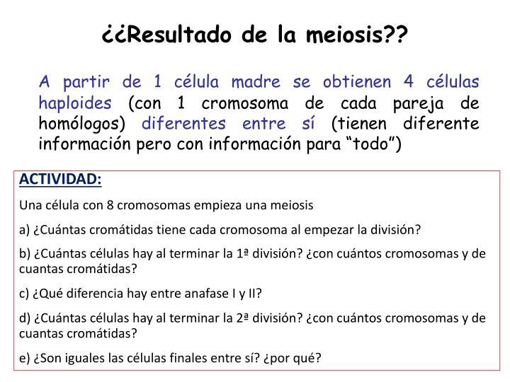 ¿¿Resultado de la meiosis??