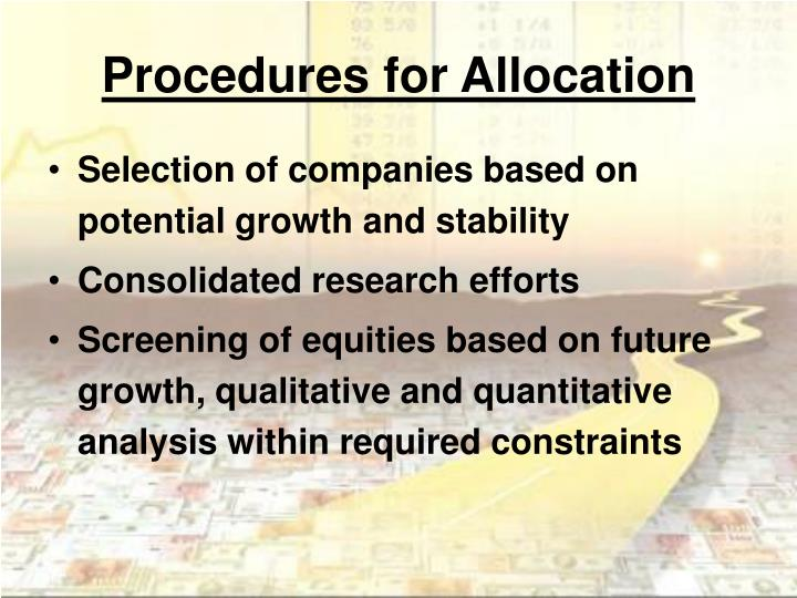 Procedures for Allocation