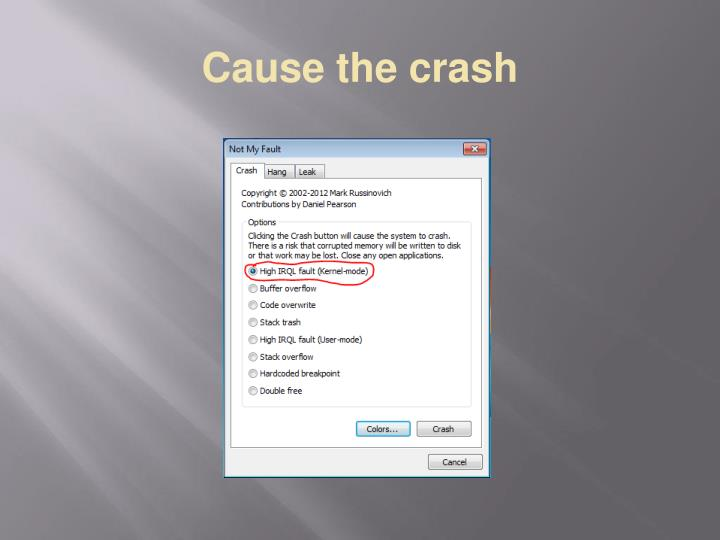 Cause the crash