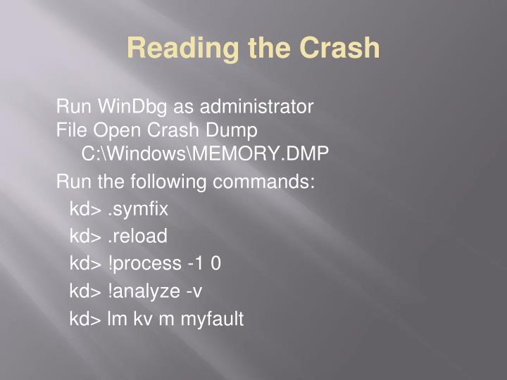 Reading the Crash