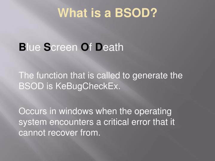 What is a bsod1