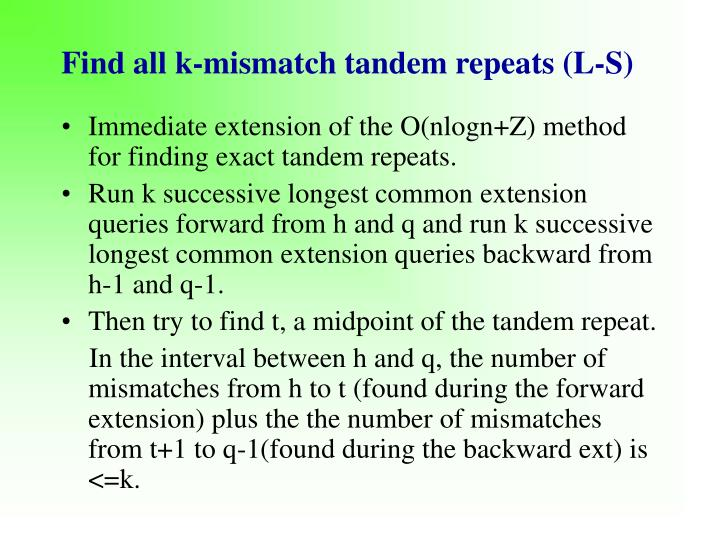 Find all k-mismatch tandem repeats (L-S)
