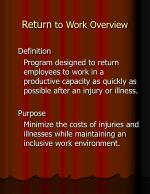 return to work overview