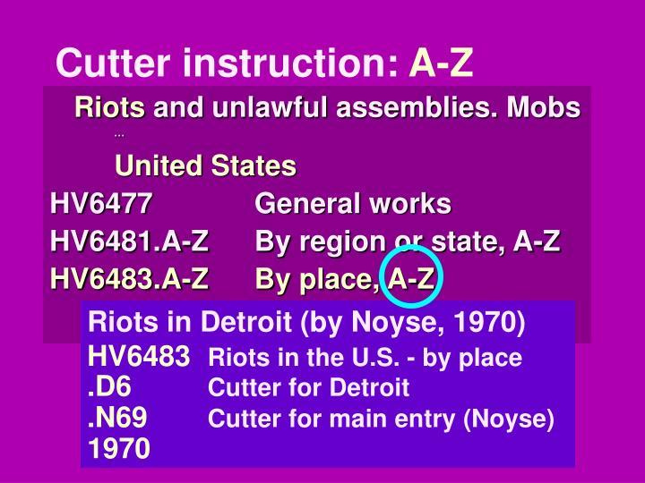Cutter instruction:
