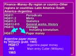 finance money by region or country other regions or countries latin america south america argentina