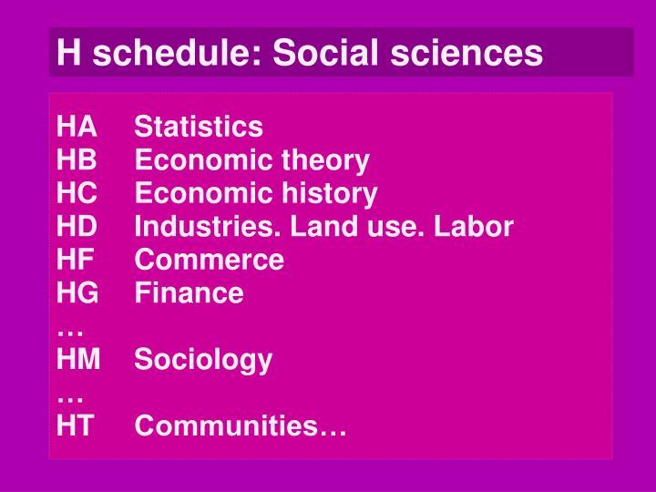 H schedule: Social sciences