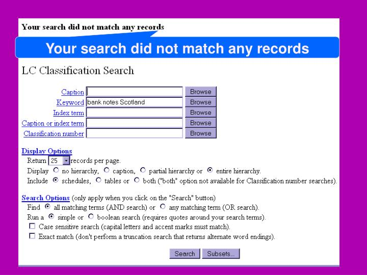 Your search did not match any records