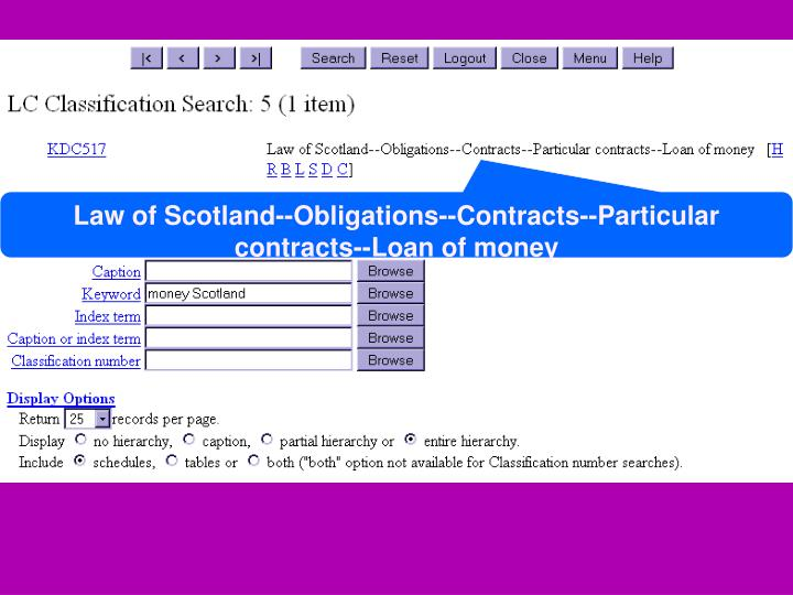 Law of Scotland--Obligations--Contracts--Particular contracts--Loan of money