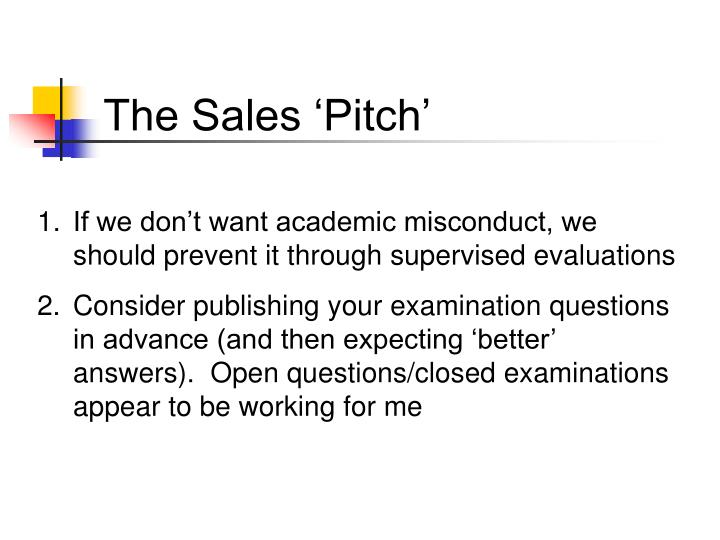 The Sales 'Pitch'