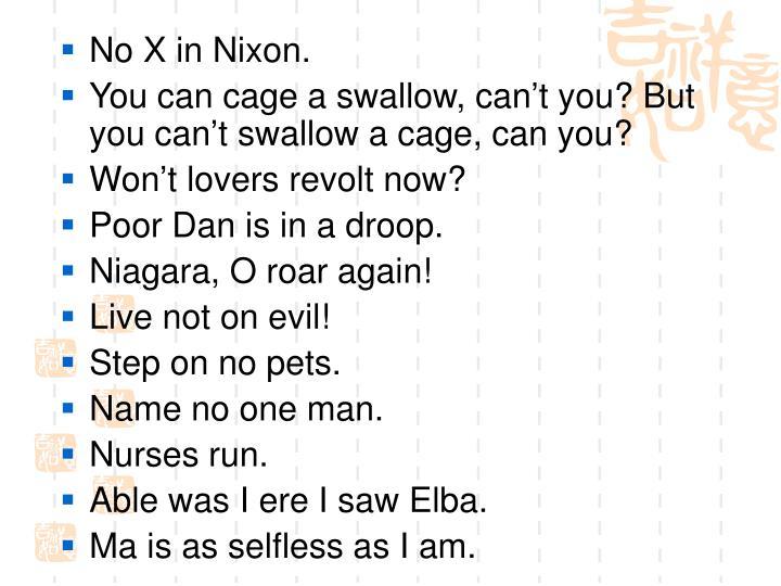No X in Nixon.