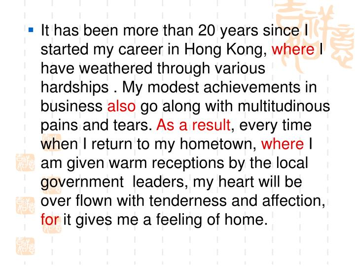 It has been more than 20 years since I started my career in Hong Kong,