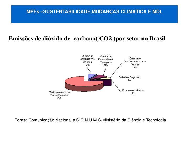 MPEs –SUSTENTABILIDADE,MUDANÇAS CLIMÁTICA E MDL
