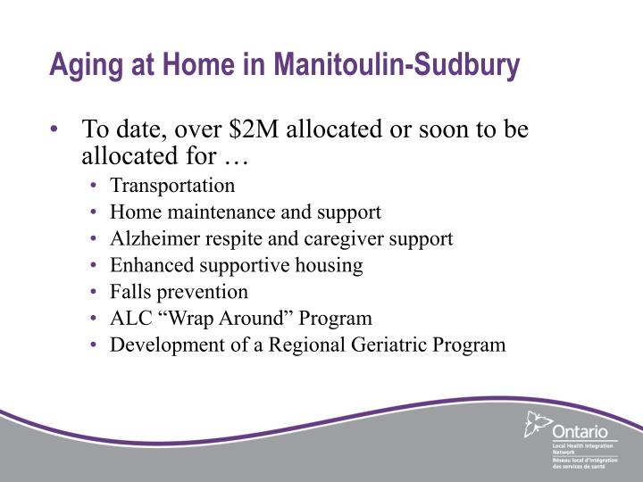 Aging at Home in Manitoulin-Sudbury