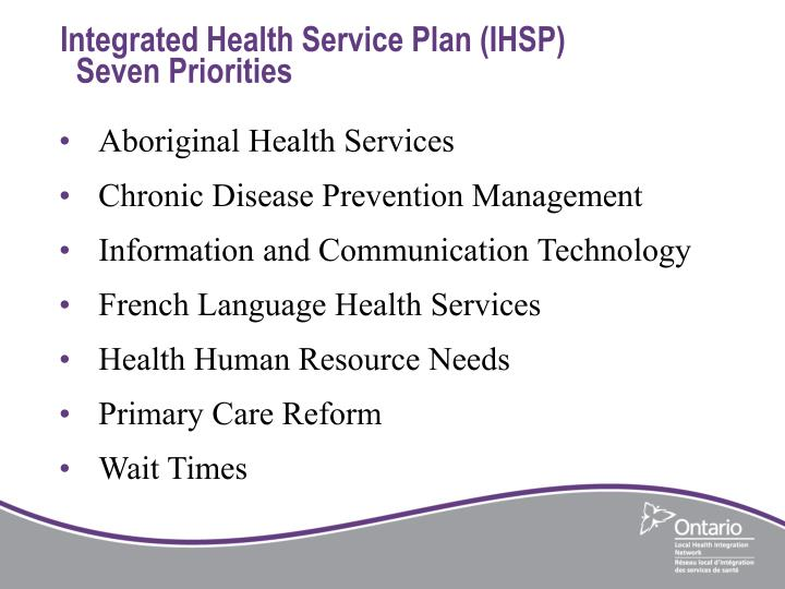 Integrated Health Service Plan (IHSP)