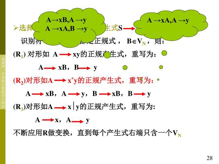 A→xB,A →y