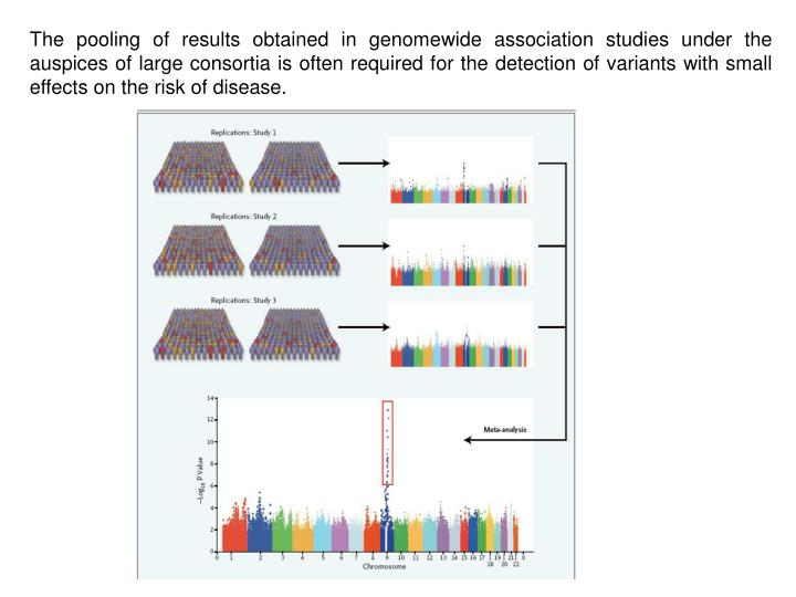 The pooling of results obtained in genomewide association studies under the auspices of large consortia is often required for the detection of variants with small effects on the risk of disease.