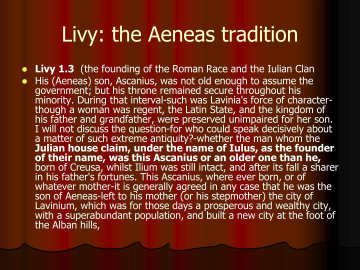 Livy: the Aeneas tradition