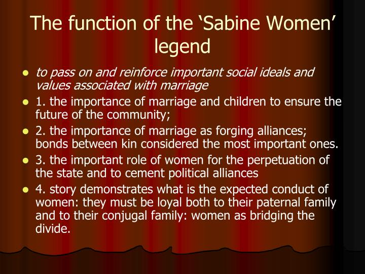 The function of the 'Sabine Women' legend