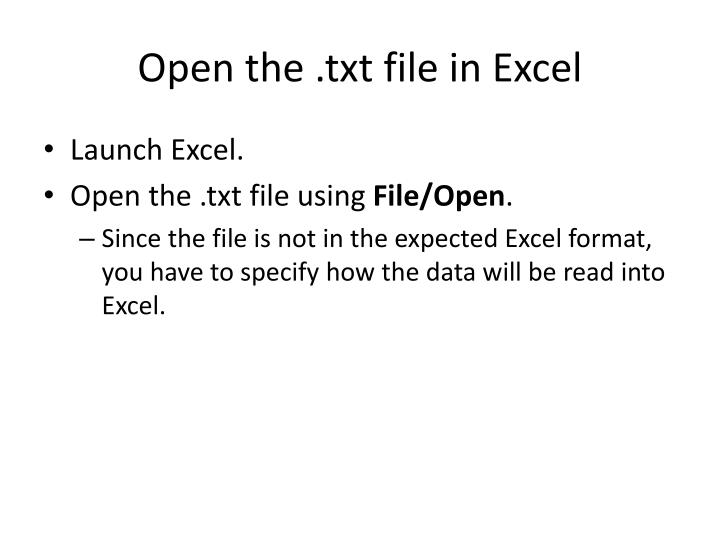Open the txt file in excel
