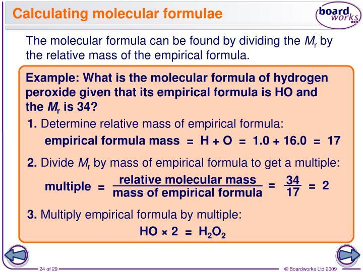 Calculating molecular formulae