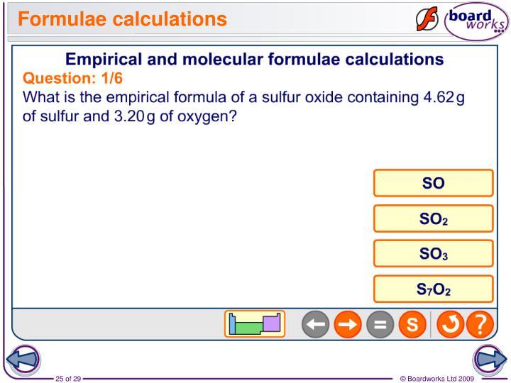 Formulae calculations
