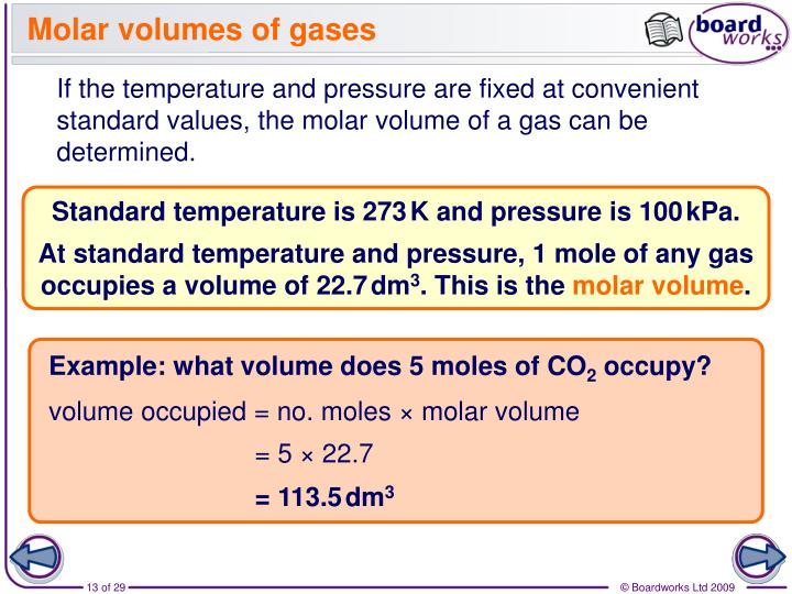 Molar volumes of gases